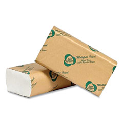 Eco Green® Recycled Multifold Paper Towels, 1-Ply, 9.5 x 9.5, White, 250/Pack, 16 Packs/Carton