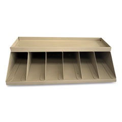 CONTROLTEK® Coin Wrapper and Bill Strap Single-Tier Rack, 6 Compartments, 10 x 8.5 x 3, Metal, Pebble Beige