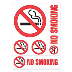 """COSCO Preprinted Vinyl Decal Sign, Five-Piece """"No Smoking"""" Set, Assorted Sizes, Red/White"""