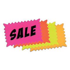"""COSCO Write-On """"Do It Yourself"""" Sign, Rectangular Burst, Die-Cut Paper, 10.13 x 6.38, Assorted Fluorescent Colors, 36/Pack"""