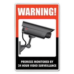 COSCO UV-Coated Preprinted Molded-Plastic Sign, 24-Hour Video Surveillance, 8 x 12, Black/Red/White