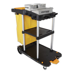 Coastwide Professional™ Click-Connect Janitorial Cart, 3 Shelves, 43.2 x 22 x 46.3, Black/Gray