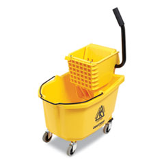 Coastwide Professional™ Click-Connect Janitorial Heavy Duty Mop Bucket with Side Press Wringer, 35 qt, Yellow