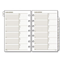 AT-A-GLANCE® Day Runner® Telephone/Address 1/12-Cut A-Z Tab Refill, 7-Hole Punched, 8.5 x 5.5, 12 Sheets