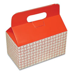 Dixie® Take-Out Barn One-Piece Paperboard Food Box, Basket-Weave Plaid Theme, 9.5 x 5 x 5, Red/White, 125/Carton