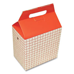 Dixie® Take-Out Barn One-Piece Paperboard Food Box, Basket-Weave Plaid Theme, 8 x 5 x 8, Red/White, 125/Carton