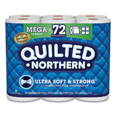 Quilted Northern® Ultra Soft and Strong Bathroom Tissue, Mega Rolls, Septic Safe, 2-Ply, White, 328 Sheets/Roll, 18 Rolls/Carton