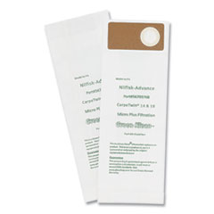 Green Klean® Replacement Vacuum Bags, Fits Advac/Lindhaus/Minuteman Phenom/Nilfisk Carpetwin, 10/Pack