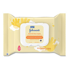Johnson & Johnson® Hand and Body Wipes, Travel Pack, 1-Ply, Nonwoven Fiber, 7.3 x 7.5, 25 Wipes/Pack