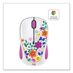 Logitech® Design Collection Wireless Optical Mouse, 2.4 GHz Frequency/33 ft Wireless Range, Left/Right Hand Use, Spring Meadow