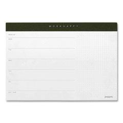 Poppin Poppin Work Happy Paper Desk Pad, 60-Sheet Pad, 10 x 7, Coast