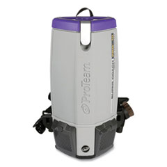 ProTeam® Super Coach Pro 10 Backpack Vacuum with Xover Fixed-Length Two-Piece Wand, 10 qt Tank Capacity, Gray/Purple