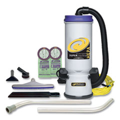 ProTeam® Super CoachVac Backpack Vacuum with Xover Fixed-Length Two-Piece Wand, 10 qt Tank Capacity, Gray/Purple