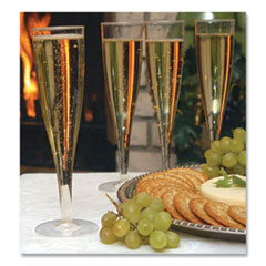 Tablemate® Plastic Champagne Glasses, 5 oz, Clear, 10/Pack