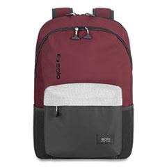 "Solo Varsity League Laptop Backpack, For 15.6"" Laptops, 12.5 x 6 x 18, Burgundy/Gray"