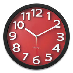 """Victory Light Wall Clock with Raised Numerals and Silent Sweep Dial, 13"""" dia, Black Case, Red Face, 1 AA (sold separately)"""