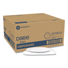 "Dixie® White Paper Plates, 8.5"" Diameter, Wrapped in Packs 5, White, 5/Pack, 100 Packs/Carton"