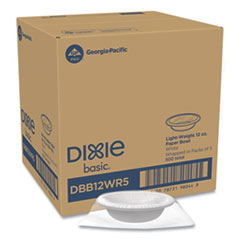 Dixie® Everyday Disposable Dinnerware, Wrapped in Packs of 5, Bowl, 12 oz, White, 5/Pack, 100 Packs/Carton