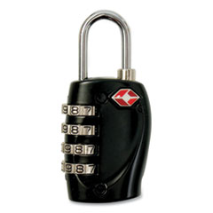 Baumgartens® Four-Dial TSA Travel Lock, Metal, Black/Silver
