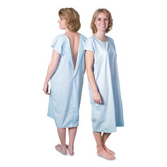 """Core Products® Cloth Patient Gown, Cotton-Polyester Blend, Large: Chest Size 38"""" to 42"""", Blue"""