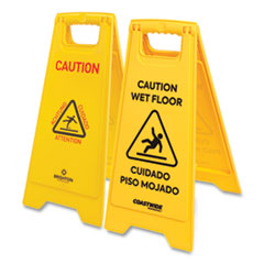 Coastwide Professional™ Multilingual Caution Floor Sign, Yellow, 12 x 1.2 x 25