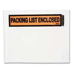 Duck® Packing List Envelopes, 4.5 x 5.5, Clear/Red, 500/Box