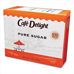Café Delight Pure Sugar Packets, 0.10 oz Packet, 100 Packets/Box