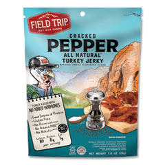 Field Trip® Turkey Jerky, Cracked Pepper Turkey, 2.2 oz Bag, 12 Bags/Carton