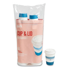 Perk™ Paper Hot Cup and Plastic Dome Lid Combo, 12 oz, White/Blue, 50 Sets/Pack