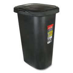 Rubbermaid® Commercial Spring Top Waste Container, Plastic, 13 gal, Black