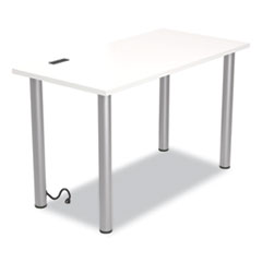 """Union & Scale™ Essentials Writing Table-Desk with Integrated Power Management, 47.5"""" x 23.7"""" x 28.8"""", White/Aluminum"""