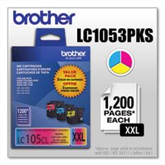 Brother LC1053PKS Innobella Super High-Yield Ink, 1,200 Page-Yield, Cyan/Magenta/Yellow