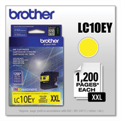 Brother LC10EY INKvestment Super High-Yield Ink, 1,200 Page-Yield, Yellow