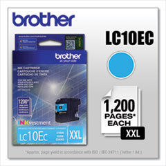 Brother LC10EC INKvestment Super High-Yield Ink, 1,200 Page-Yield, Cyan