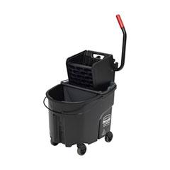 Rubbermaid® Commercial WaveBrake 2.0 Bucket/Wringer Combos, Side-Press, 35 qt, Plastic, Black