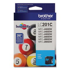 Brother LC201C Innobella Ink, 260 Page-Yield, Cyan