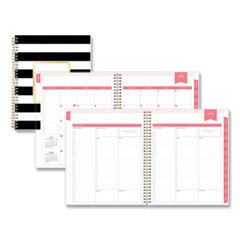 Blue Sky® Day Designer Academic Year Daily/Monthly Planner, 10 x 8, Stripes, Black/White, 2021-2022