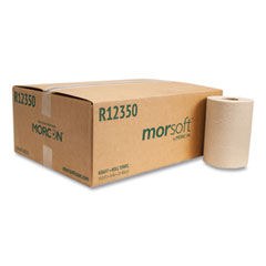 """Morcon Tissue Morsoft Universal Roll Towels, 8"""" x 350 ft, Brown, 12 Rolls/Carton"""