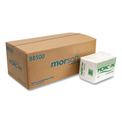Morcon Tissue Morsoft Beverage Napkins, 9 x 9/4, White, 500/Pack, 8 Packs/Carton