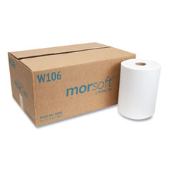 """Morcon Tissue 10 Inch Roll Towels, 1-Ply, 10"""" x 800 ft, White, 6 Rolls/Carton"""