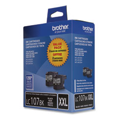 Brother LC1072PKS Innobella Super High-Yield Ink, 1,200 Page-Yield, Black, 2/Pack