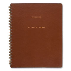 AT-A-GLANCE® Signature Collection Academic Planner, 11.5 x 8, Distressed Brown, 2021-2022