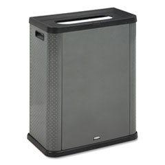 Rubbermaid® Commercial Elevate Decorative Refuse Container, Landfill, 23 gal, 25.14 x 12.8 x 31.5, Pearl Dark Gray