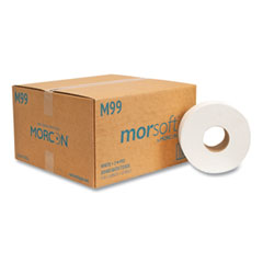 Morcon Tissue Jumbo Bath Tissue, Septic Safe, 2-Ply, White, 1000 ft, 12/Carton