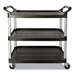 Rubbermaid® Commercial Economy Plastic Cart, Three-Shelf, 18.63w x 33.63d x 37.75h, Black