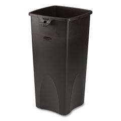 Rubbermaid® Commercial Untouchable Square Waste Receptacle, Plastic, 23 gal, Black