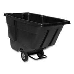 Rubbermaid® Commercial Rotomolded Tilt Truck, Rectangular, Plastic with Steel Frame, 600 lb Capacity, Black