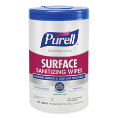 PURELL® Foodservice Surface Sanitizing Wipes, Fragrance-Free, 10 x 7, 110/Canister, 6 Canisters/Carton