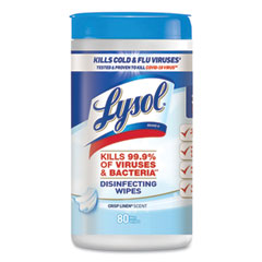 LYSOL® Brand Disinfecting Wipes, 7 x 7.25, Crisp Linen, 80 Wipes/Canister, 6 Canisters/Carton