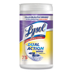 LYSOL® Brand Dual Action Disinfecting Wipes, Citrus, 7 x 7.5, 75/Canister